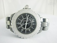 HAORUI diamond bezel diamond dial Black Ceramic Quartz Watch Fully Real watches