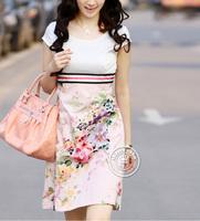 2013 Free shipping Hot summer new women graceful ~ OL temperament the career ladies paradigm bohemian Slim Dress