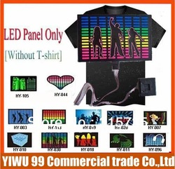 10pcs/lot 173 designs LED t-shirts panel EL T-shirt Sound Activated flashing light LED panel Wholesale & Retail(China (Mainland))
