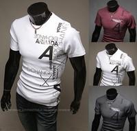 2014 New Fashion Tees,Men Shirt,Mens Short Sleeve T-shirts,Top Brand Men's Shirts,letters Print Design,Free Shipping