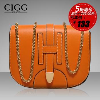 Women's handbag genuine leather women's genuine leather handbag classic cowhide women's chain bag flip hasp bags 834