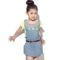 Female child summer female child one-piece  denim  dress