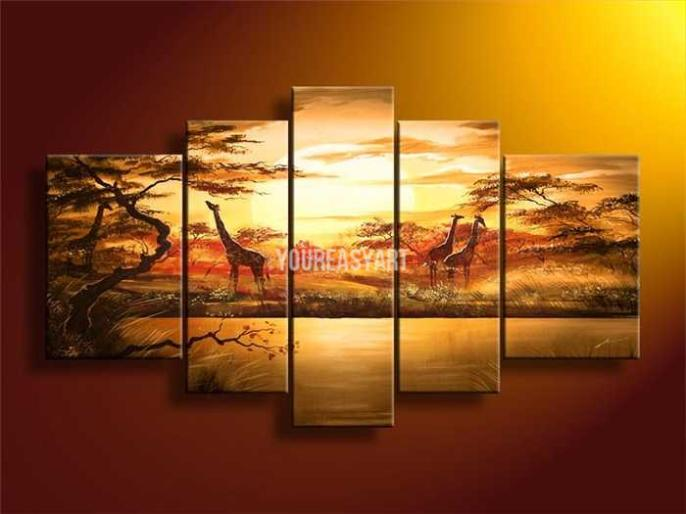 Hand Painted Wall Art African Abstract Forest Giraffes For Home Decorationr Modern Landscape Oil Painting On Canvas(China (Mainland))