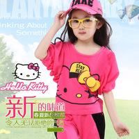 Summer female child candy color set lantern sleeve harem pants cartoon bow twinset