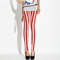 The trend of personality of the american flag legging red and white stripe color block decoration female fashion legging