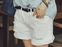 Woman Jeans Knee length pants female 2013 hole roll-up hem white shorts denim Hot Sale Ladies Short pants Ms. MK511