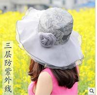 Free shipping three UV sun hat child Wholesale Korean flowers collapsible Ms. summer sun hat