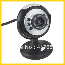 1x 1.3 Mega USB 6 LED Webcam Cámara Web Cam PC Portátil Nuevo envío libre(China (Mainland))