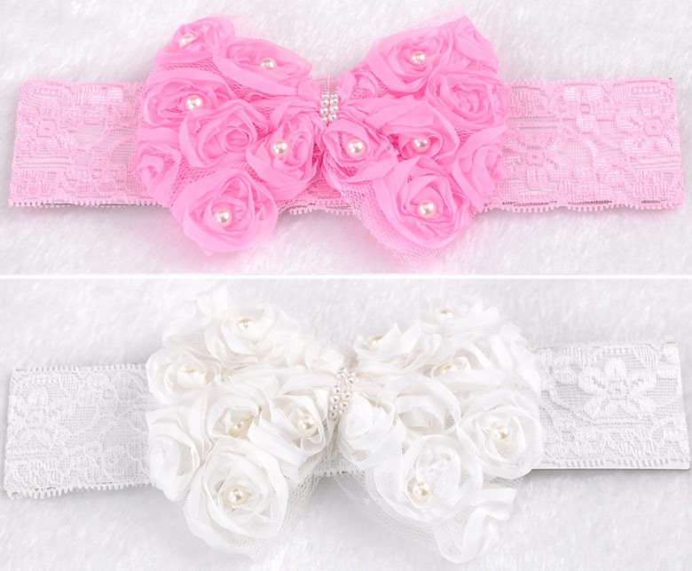 "1PC Baby Lace Bowknot Stretch Hair Headband 18x5cm(7 1/8""x2"") M0496(China (Mainland))"