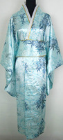 Japanese Women's Silk Rayon Kimono Flowers Dress yukata with Obi LGD H0014 Free Shipping