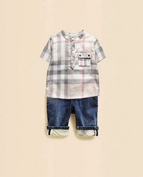 2013 new arrival summer UK design hotsale baby clothing set 2 pcs boys suit with plaid shirt and jeans(China (Mainland))