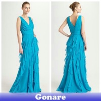 EG066 Gonare Free Shipping Chiffon Hot Long Dresses Evening Spaghetti Strap V Neck Gown