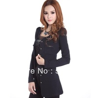 Free Shipping Hot-selling thermal 2013 medium-long stretch Four pocket Silm coat thick woolen outerwear Wholesale/retail OEM