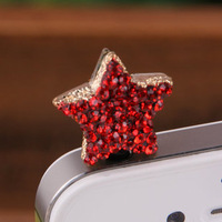 (Min order is $10) E372Fashion accessories with drill pentagram mobile phone dustproof plug
