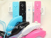 Free shipping Nunchuck Remote Controller,game controller For Nintendo Wii 5 set Colors Dropshipping
