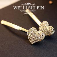 (Min order is $10) E428 Full type drill peach beloved xinxin golden edge clip