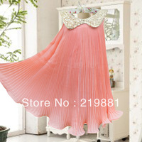 2013 the European and American girls sequined sleeveless chiffon dress 5pcs/lot