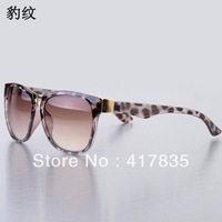 Free Shipping 2013 new retro fashion unisex black super sunglasses for men and women Women's designer sunglasses  Leopard