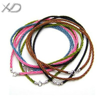 XD MT006 2.0mm Jewelry braided fabric cotton cord necklace rope with 925 sterling silver spring clasps