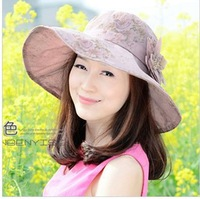 Free shipping summer sun hat sun hat Women's stylish cotton flower-brimmed straw hat