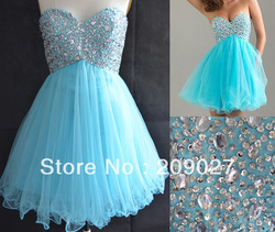 In-Stock 2013 Charming Tulle Blue Sequined Pleated A Line Lace Up Short Mini Prom Graduation Gowns Party Homecoming Dresses(China (Mainland))