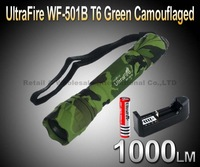 UltraFire WF-501B Cree T6 5-Mode 1000Lumens Green Camouflaged LED Flashlight Torch+1*battery+1*charger