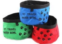 Free Shipping Pet Dog Cat Portable Collapsible Foldable Camping Travel Bowl Water Feeder