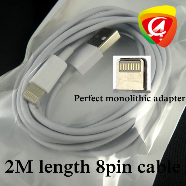500pcs Factory directly 2M Length 8pin to USB cable adaptor for iPhone 5 iPad 4/mini Perfect monolithic adapter(China (Mainland))