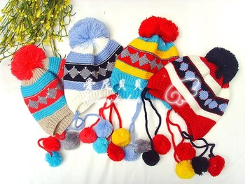 2012 child knitted yarn pocket hat male hat warm hat