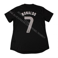 Free shipping 100% Polyester 2013 14 Thailand quality Portugal football shirts away black #7 RONALDO soccer jerseys