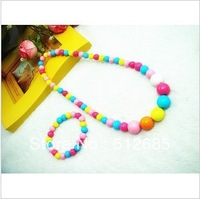 {Min.order $15}  5sets/Lot 2013 New Princess/Girl/Kids/Children Plastic Colorful Beads Necklace with Bracelet free shipping