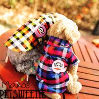 Lattice Knight handsome shirt pet clothes dog clothes puppy flannel shirt shirt handsome fashion