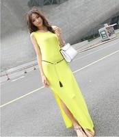 new 2014 summer modal slim sleeveless sexy long tank women dresses fashion sexy style lady's dress satin neon yellow A8923
