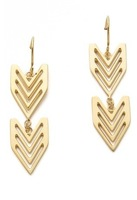 SGE005 /Sweet Girl/ Free shipping /Factory supply /high polish gold cutout  V Shape earrings