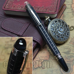 HIGH QUALITY BEST DESIGN FROSTED BLACK AND SILVER CHECKED ROLLER BALL PEN COPY MONT WITHOUT ORIGINAL BOX FREE SHIPPING(China (Mainland))