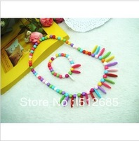 {Min.order $15}  2013 New Princess/Girl/Kids/Children Plastic Colorful Beads with oval plate Necklace with Bracelet