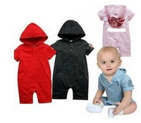 cotton Hooded Romper red black Pink sky blue children's clothings kid's Rompers baby' cloths free shipping