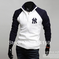 Free Shipping 2013 New Men's Jackets Letter Jacket Hot Men's Casual Coat/Men's Hoodie Color:Navy,Gray Size:M-L-XL-XXL