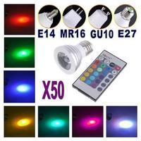 50X Free Shipping! Energy Saving 5W E27 GU10 MR16 RGB E14 LED Bulb Lamp light Color changing IR Remote