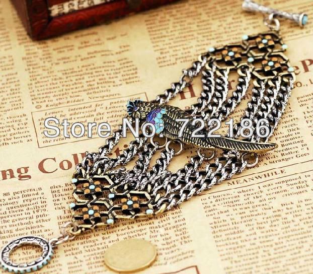 Latest hot sale multi chains parrot alloy bracelet free shipping(China (Mainland))