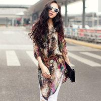 Free shipping 2014 Hot top Sey lady casual print wholesale clothes turkish 2014 fashion women chiffon blouses JMS-031