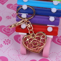 Latest Colorful Rhinestone Metal Keychain For Bag Heart B198070