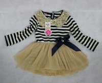On Sale 2014 new arrival long sleeve lace baby girls striped tutu dress with rhinestone bow for spring