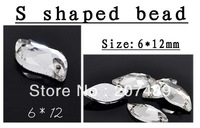 DIY shiny 12mm crystal clear S shape two holes for sew rhinestone beads for cellphone mobile phone cases scrapbook jewelry