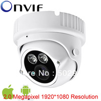 H.264 2MP HD 1080P 1/2.5 CMOS Network IP Camera 2 Array IR Leds Waterproof Dome Camera Onvif