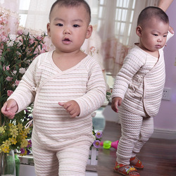 Organic natural colored cotton baby newborn cotton thickening thermal clothing slanting lapel strap monk clothing kimono belly(China (Mainland))