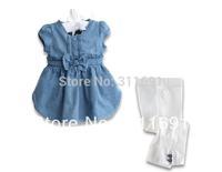 2013 NEW Free shipping,wholesale 5 sets/lot girls two pcs set jeans dress +pant,children wear,kids suit,girls suit