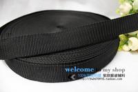 Many kinds of black thickening nylon webbing backpack polypropylene fiber pp webbing school bag belt ,2.5cm width,50yards/lot