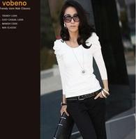 Puff sleeve pleated women's thread cotton long-sleeve basic t shirt
