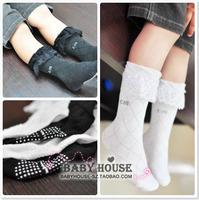 Laciness c.m summer child socks thin cotton socks female child lace handmade knee-high socks for 2-4years old